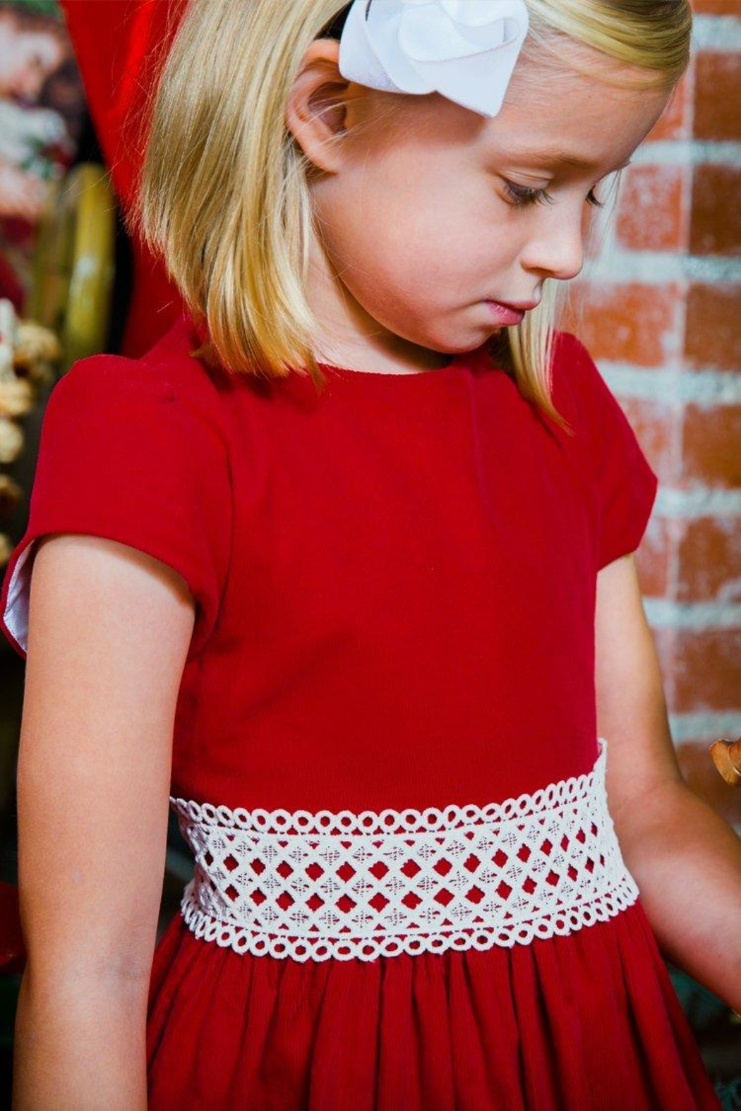 Bailey Boys Red Corduroy/lace Dress - Main Image