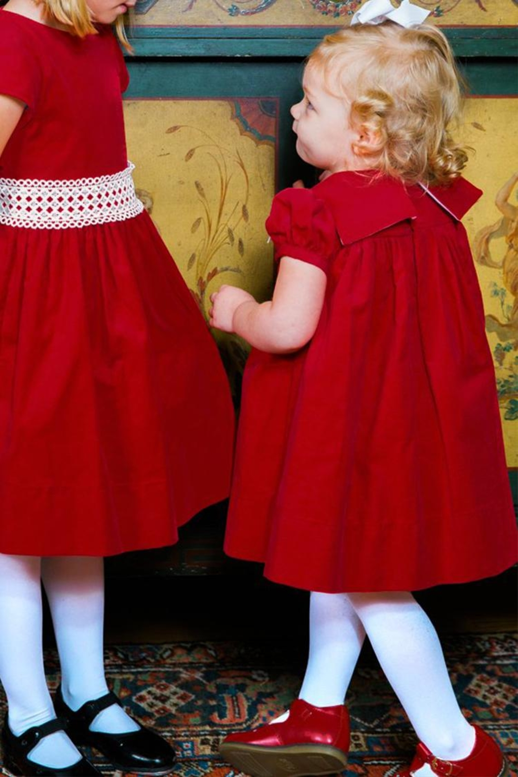 Bailey Boys Red Corduroy/lace Float-Dress - Front Full Image
