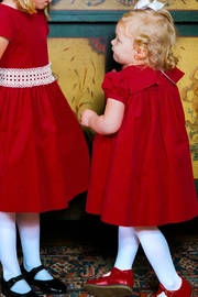 Bailey Boys Red Corduroy/lace Float-Dress - Front full body