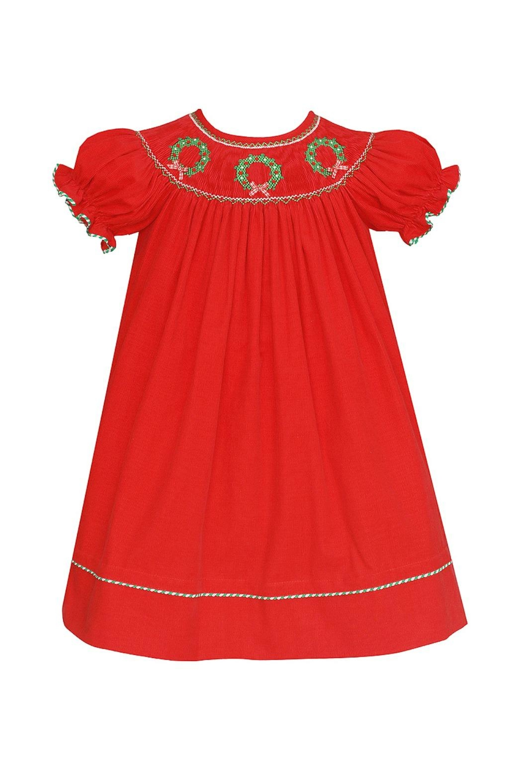 ANAVINI Red-Corduroy-Smocked-Christmas-Wreath-Bishop - Front Cropped Image