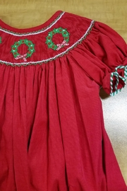 ANAVINI Red-Corduroy-Smocked-Christmas-Wreath-Bishop - Front full body