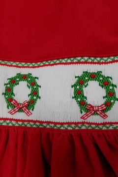 ANAVINI Red-Corduroy-Smocked-Christmas-Wreath-Dress - Alternate List Image