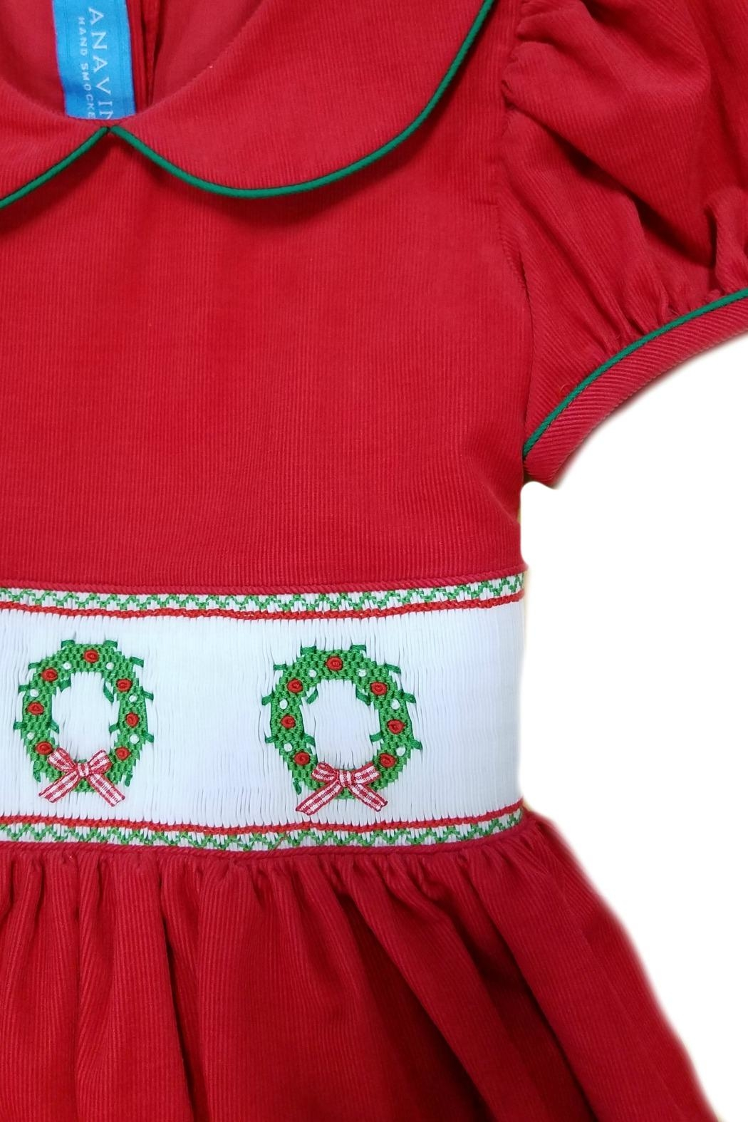 ANAVINI Red-Corduroy-Smocked-Christmas-Wreath-Dress - Front Full Image