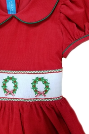 ANAVINI Red-Corduroy-Smocked-Christmas-Wreath-Dress - Front full body