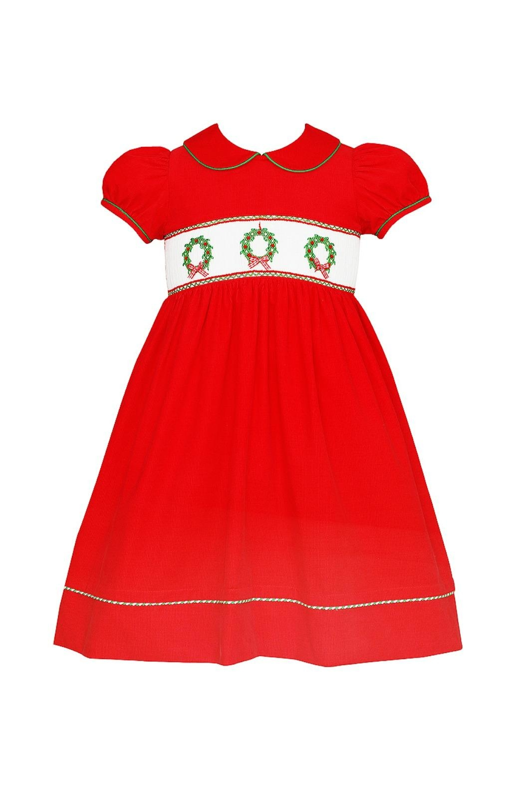 ANAVINI Red-Corduroy-Smocked-Christmas-Wreath-Dress - Front Cropped Image