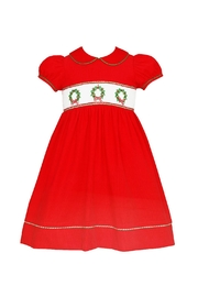 ANAVINI Red-Corduroy-Smocked-Christmas-Wreath-Dress - Front cropped