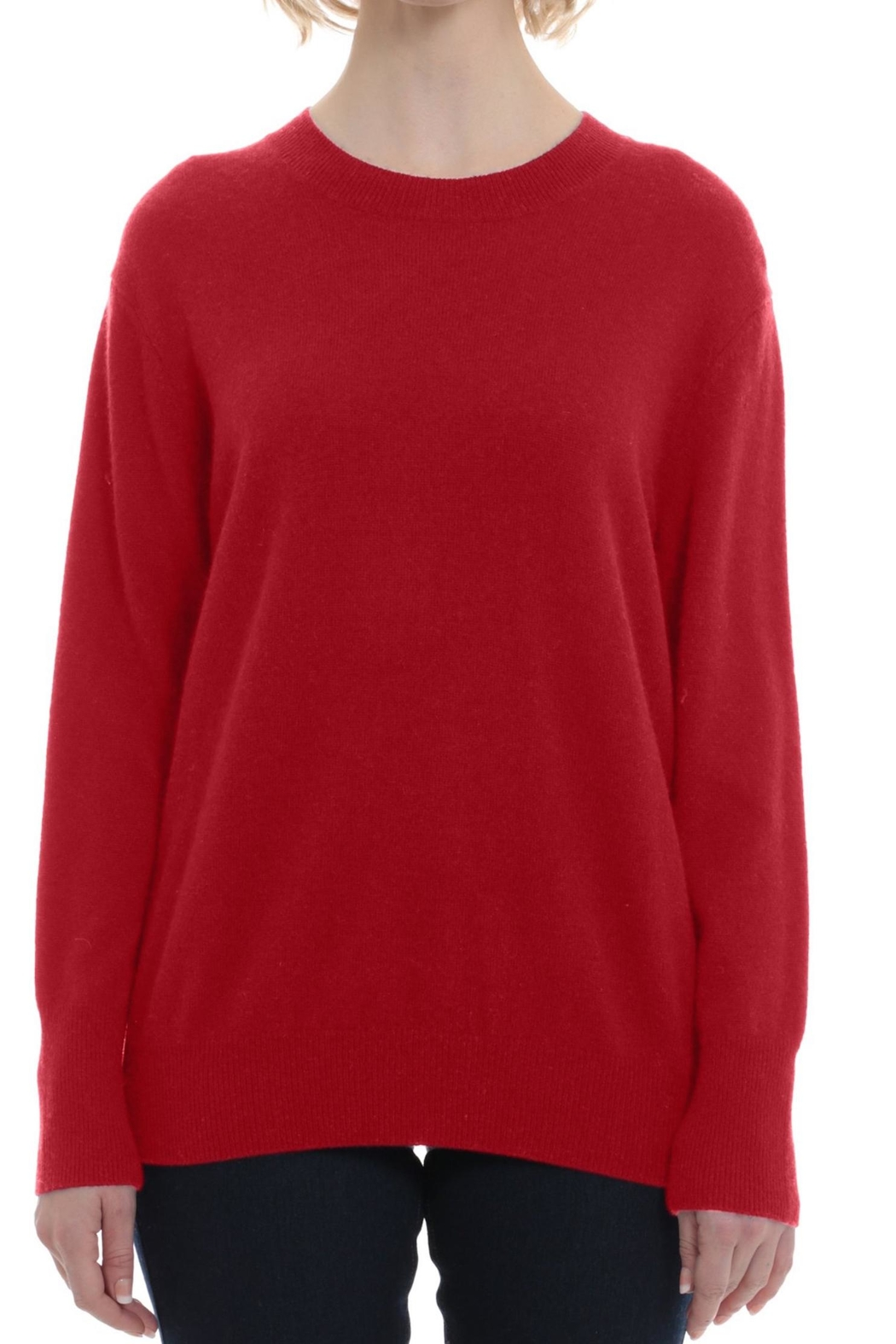 Minnie Rose Red Crew Sweater - Front Cropped Image