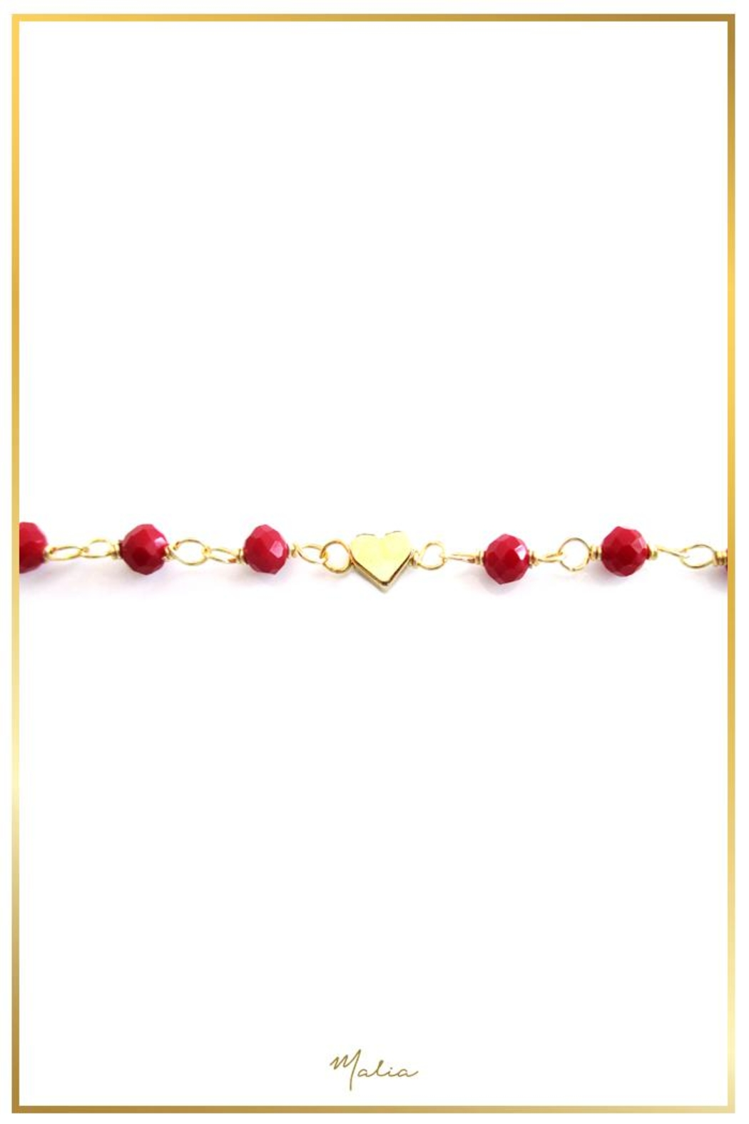Malia Jewelry Red-Crystal Heart Bracelet - Front Full Image