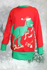 Lady Charm Red Dinosaur Sweatshirt - Front cropped