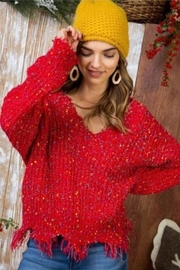 Main Strip Red Distressed Sweater - Product Mini Image