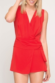 She + Sky Red Draped Romper - Product Mini Image