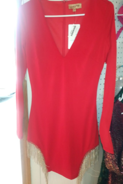 Shoptiques Product: Red Dress With Gold Fringe Size Small New With Tags Size M