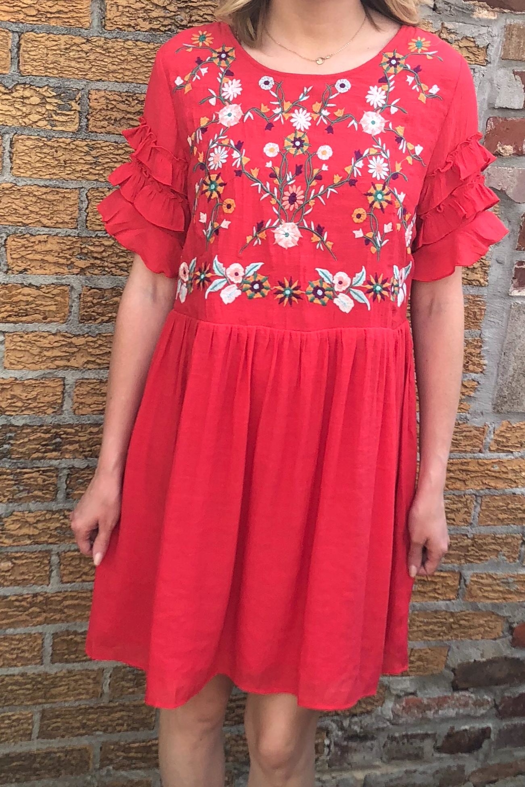 Entro Red Embroidered Dress - Main Image
