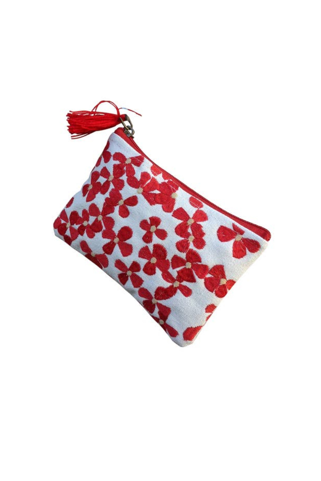 Chloe & Lex Red Embroidered Floral Coin Purse - Main Image
