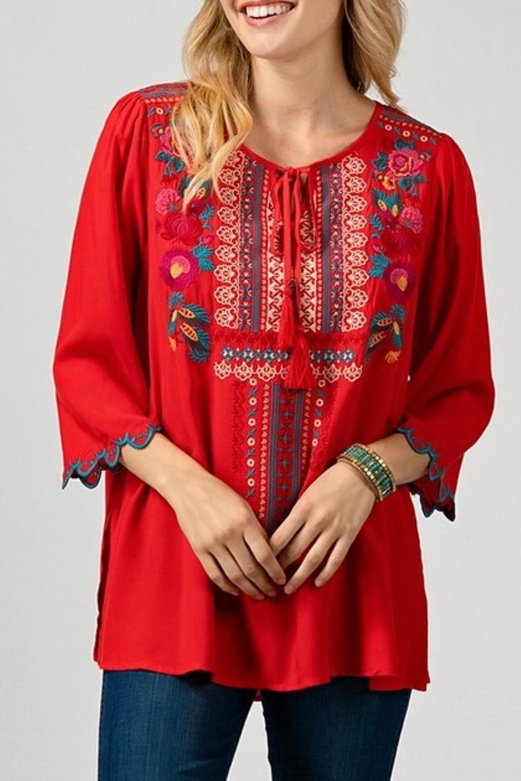 Andree by Unit Red Embroidered Top - Main Image