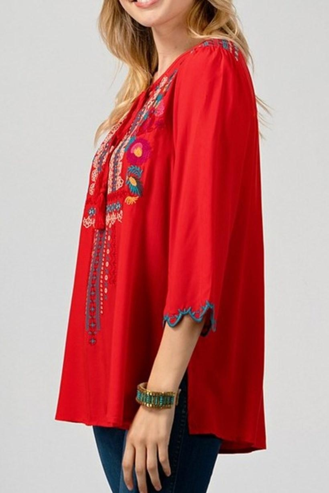 Andree by Unit Red Embroidered Top - Front Full Image