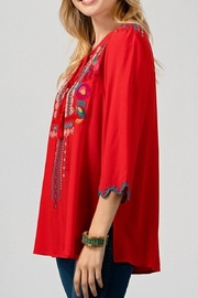 Andree by Unit Red Embroidered Top - Front full body