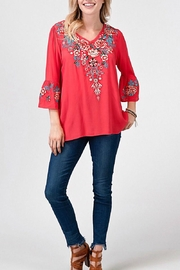 Andree by Unit Red Embroidery Top - Product Mini Image