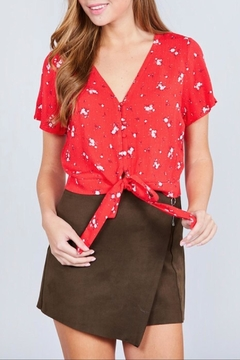 Active Basic Red Floral Crop-Top - Product List Image