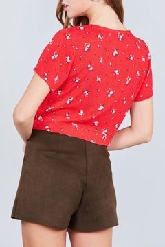 Active Basic Red Floral Crop-Top - Alternate List Image