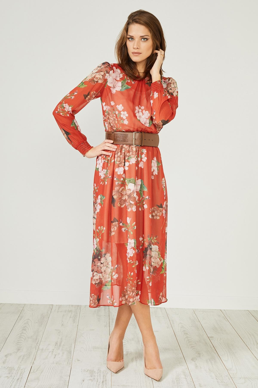 Urban Touch Red Floral Dress - Main Image
