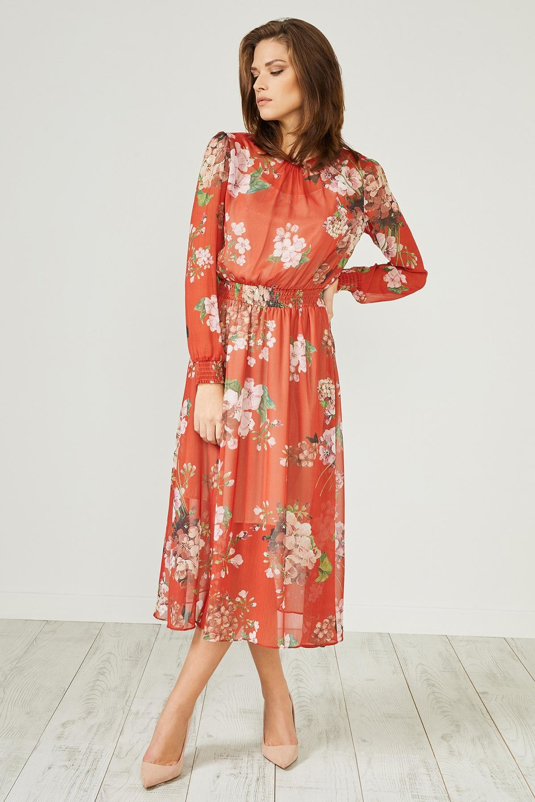 Urban Touch Red Floral Dress - Front Full Image