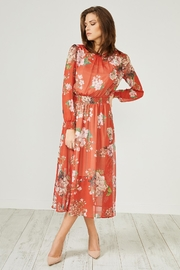 Urban Touch Red Floral Dress - Front full body