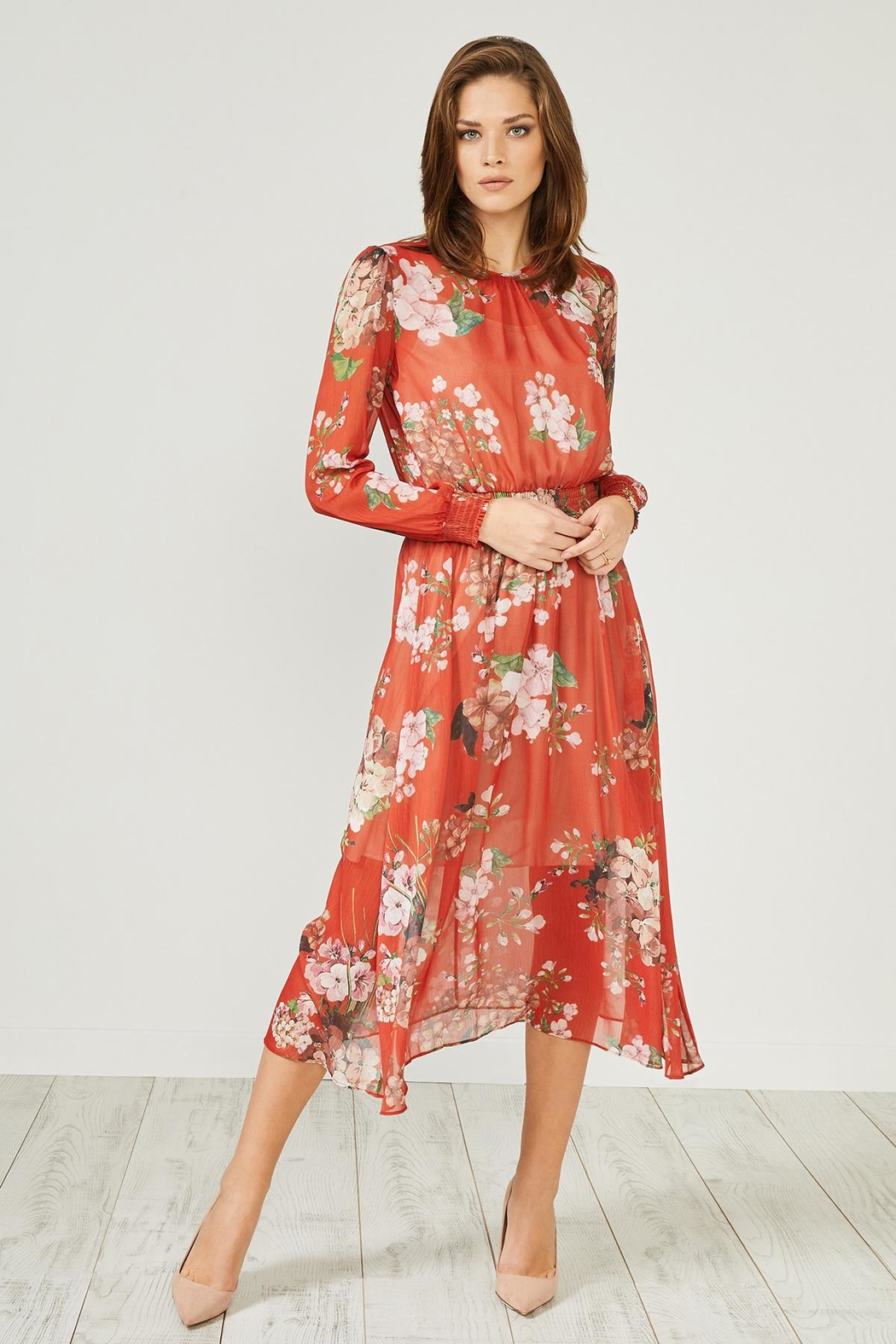 Urban Touch Red Floral Dress - Side Cropped Image
