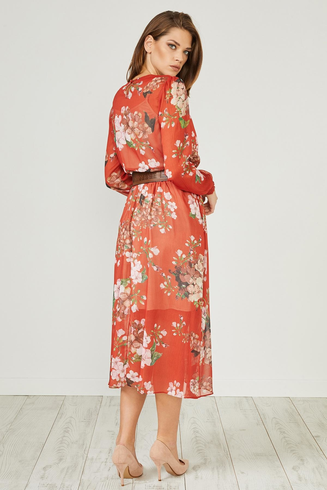 Urban Touch Red Floral Dress - Back Cropped Image