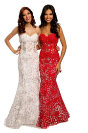 Jovani Red Floral Gown - Front cropped