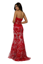 Jovani Red Floral Gown - Front full body