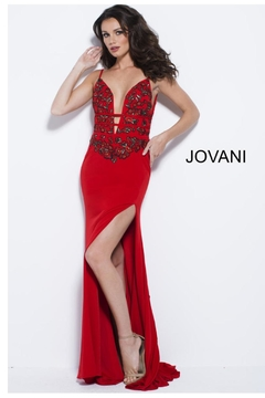 Jovani PROM Red Floral Gown - Alternate List Image