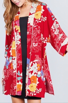 Active Basic Red Floral Kimono - Product List Image