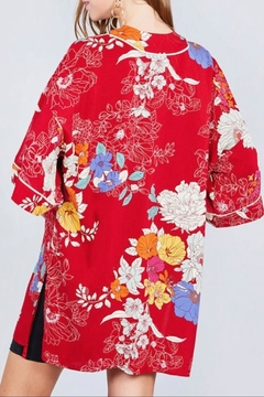 Active Basic Red Floral Kimono - Alternate List Image