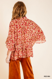 umgee  Red Floral Metallic Sheer Top - Other