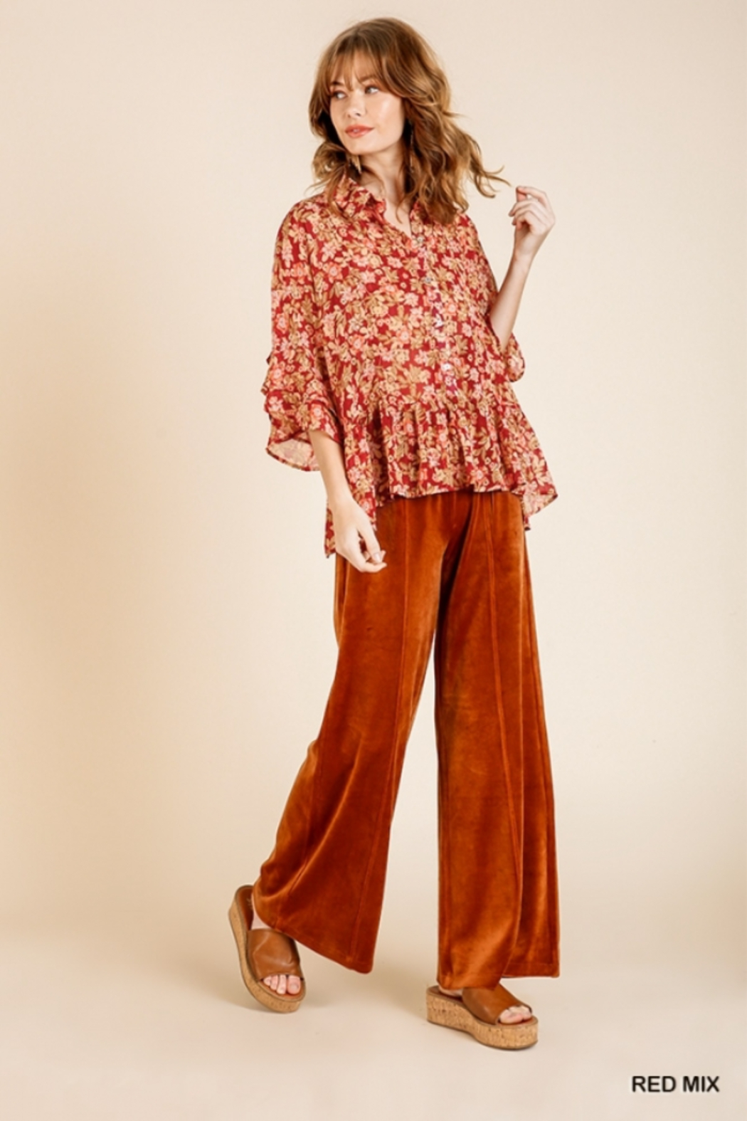 umgee  Red Floral Metallic Sheer Top - Front Full Image