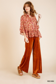 umgee  Red Floral Metallic Sheer Top - Front full body