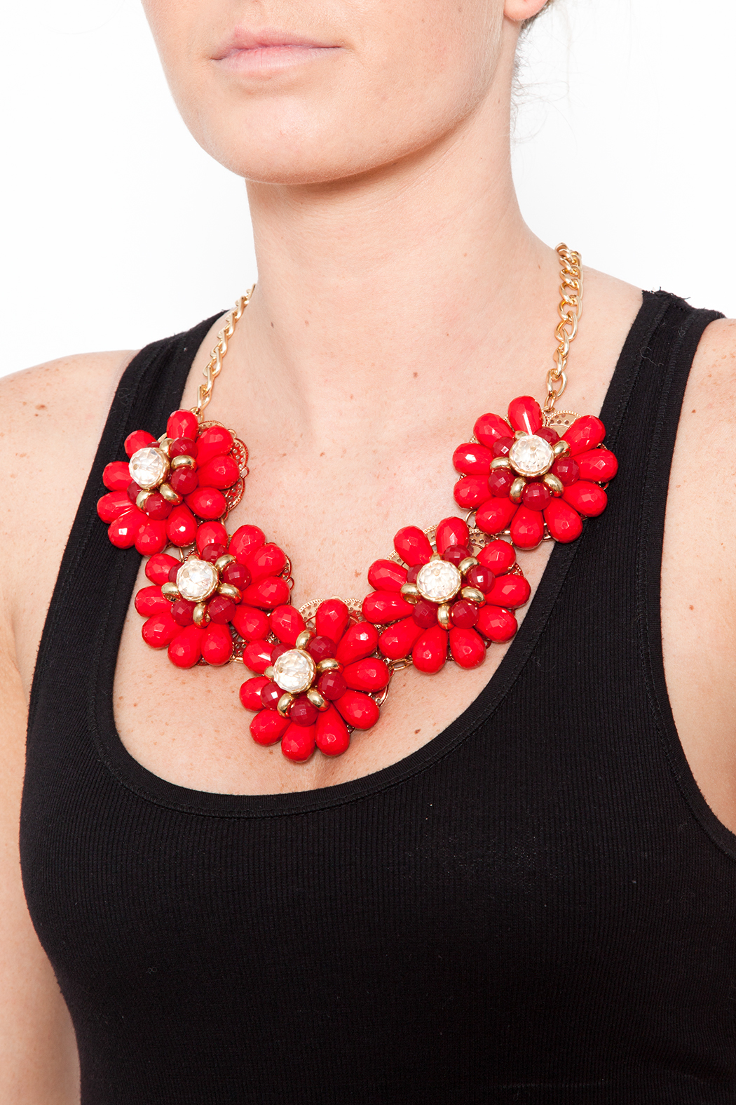 Red Floral Necklace - Back Cropped Image