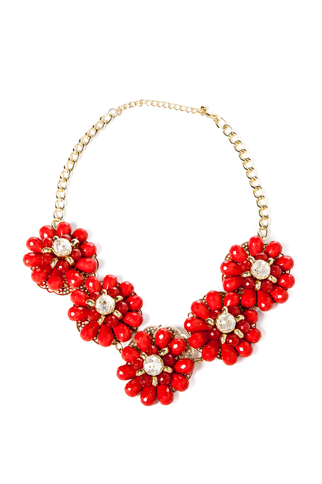 Red Floral Necklace - Main Image