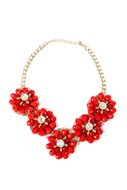 Red Floral Necklace - Front cropped