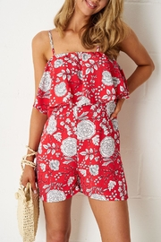 frontrow Red-Floral Overlay Playsuit - Product Mini Image