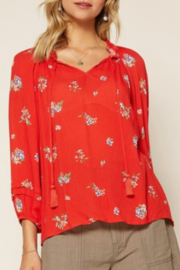 Skies Are Blue Red Floral Print Blouse - Product Mini Image