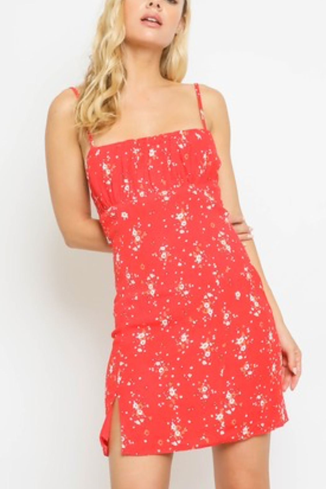 Olivaceous  Red Floral Tank Dress - Main Image