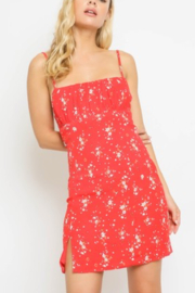Olivaceous  Red Floral Tank Dress - Front cropped