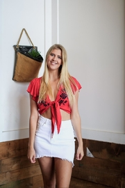 Love Tree Red Floral Top - Front cropped