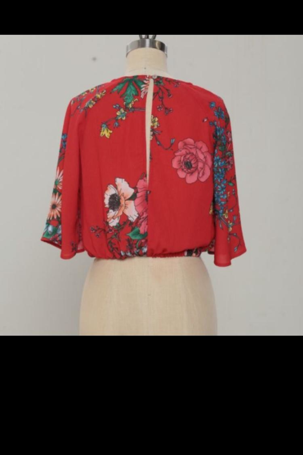 Jealous Tomato Red Floral Top - Front Full Image