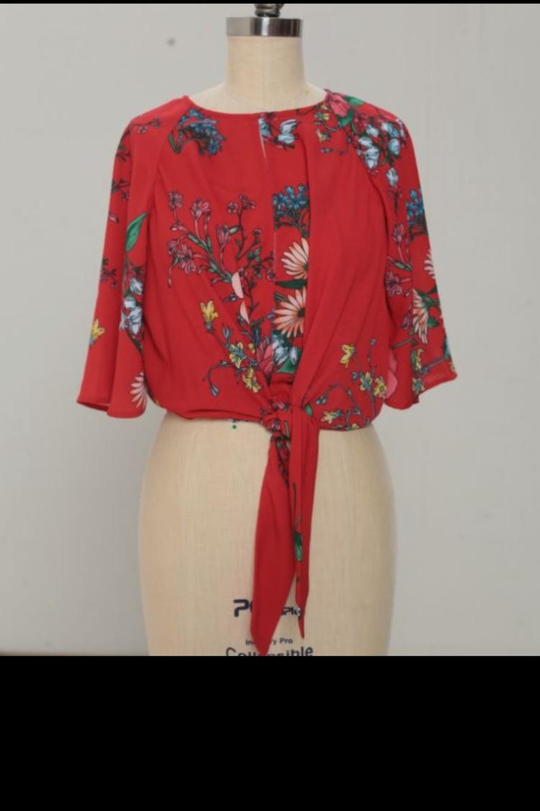 Jealous Tomato Red Floral Top - Main Image