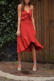 essue Red Flounce Midi-Dress - Product Mini Image