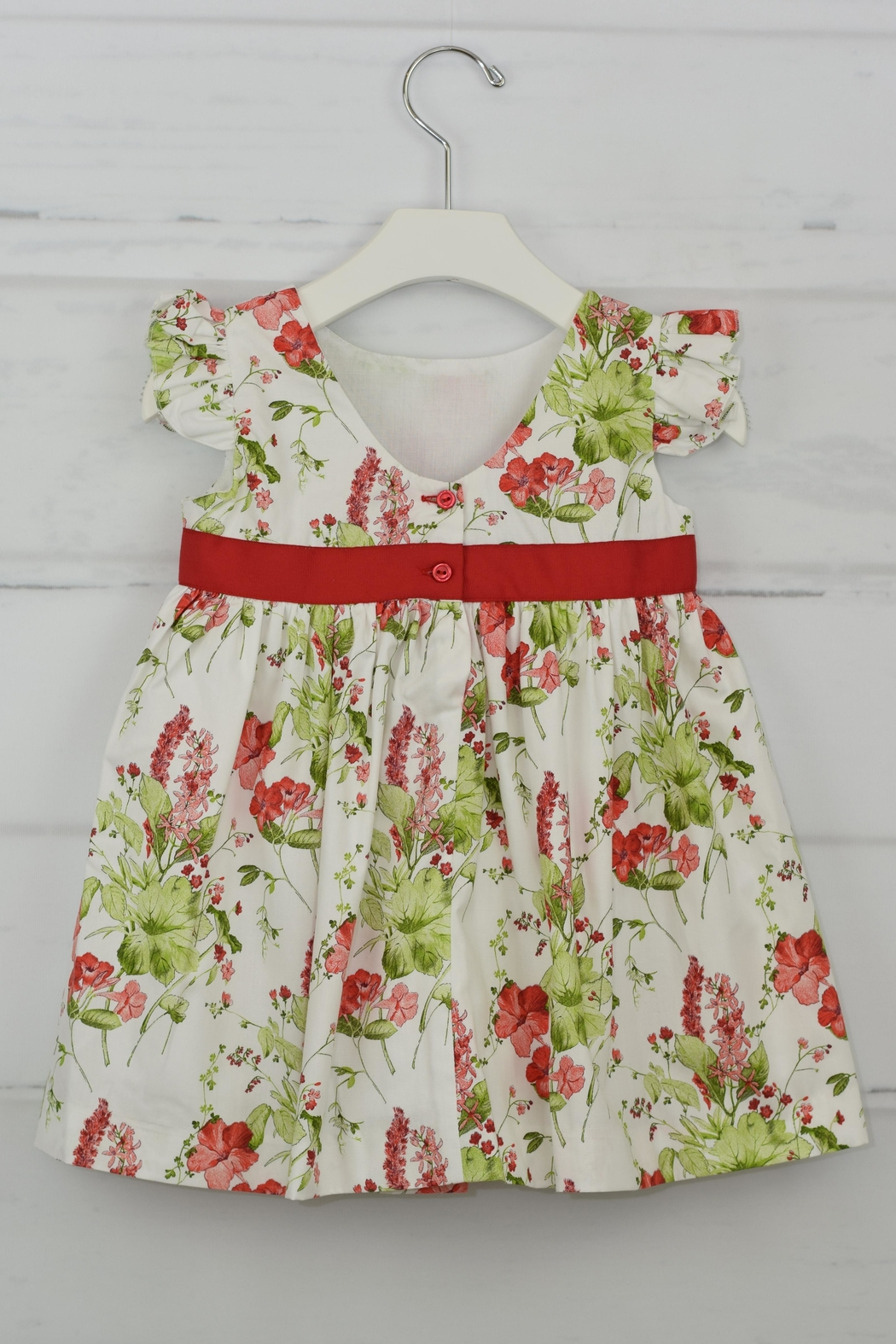 Granlei 1980 Red Flower Dress - Front Full Image