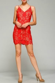 Minuet Red Flower Lace Short Formal Dress - Front full body